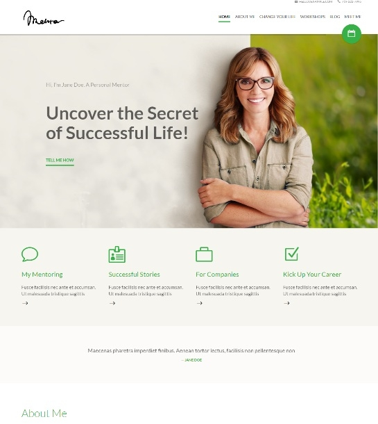 Mentor - Personal Development Coach  Theme